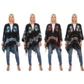 12 Units of Wrap Poncho Aztec Print with Fringe Bottom - Winter Pashminas and Ponchos