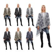 12 Units of Wrap Poncho Floral Print with Fringe Bottom - Winter Pashminas and Ponchos