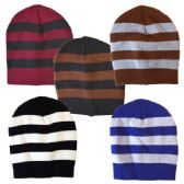 48 Units of Winter Hat Stripe Assorted Colors