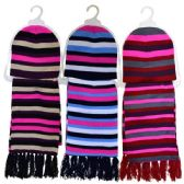 24 Units of Hat & Scarf Ladies 2 Piece Set Assorted Colors - Winter Sets Scarves , Hats & Gloves