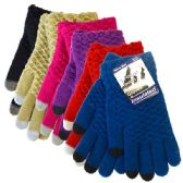 48 Units of Glove Touch Knit Assorted Colors - Conductive Texting Gloves