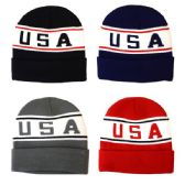 48 Units of Winter Hat USA Insulated Assorted Colors
