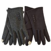 24 Units of Winter Ladies Sensitive Touch Gloves with Buttons - Conductive Texting Gloves