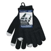96 Units of Winter Black Dotted Texting Glove - Conductive Texting Gloves