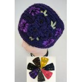 12 Units of Wide Hand Knitted Ear Band [3 Flowers] - Ear Warmers