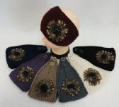 12 Units of Wide Hand Knitted Ear Band [Feathers & Beads] - Ear Warmers