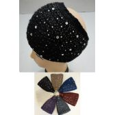 12 Units of Wide Hand Knitted Ear Band [Lg & Sm Rhinestones]