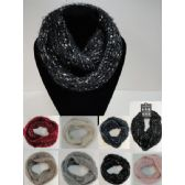 24 Units of Knitted Infinity Scarf [Braided Knit/Metallic] - Winter Scarves