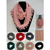 24 Units of Knitted Infinity Scarf [Fringe/Loose Knit] - Winter Scarves