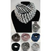 24 Units of Knitted Infinity Scarf [Shaggy Chevron] - Winter Scarves