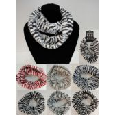 24 Units of Knitted Infinity Scarf [Zebra Print] - Winter Scarves