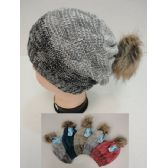 12 Units of Ladies Knitted Hat with Fur PomPom [Color Fade] - Winter Beanie Hats