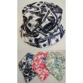 24 Units of Money Printed Bucket Hats in Assorted Colors - Bucket Hats