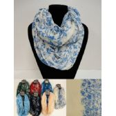 12 Units of Extra-Wide Light Weight Infinity Scarf [Two Tone Floral] - Womens Fashion Scarves