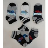 240 Units of Boy's Printed Anklet Socks 4-6 [Cars] - Boys Ankle Sock