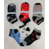 240 Units of Boys Printed Anklet Socks 6-8 [Spider & Web] - Boys Ankle Sock