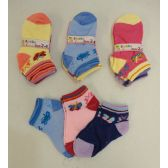 240 Units of Girl's printed Socks 2-4 [Butterflies] - Girls Ankle Sock