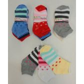 240 Units of Girl's printed Socks 4-6 [Stars & Stripes] - Girls Ankle Sock