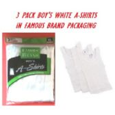 48 Units of FRUIT LOOM-HANES-GILDAN-BOY 3PK WHITE A-SHIRTS IN FAMOUS BRAND PK - Boys T Shirts
