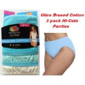 "36 Units of FRUIT OF THE LOOM LADIES 3 PAIR ""ULTRA"" BRUSHED COTTON HI-CUTS SIZE 7 - Womens Panties & Underwear"