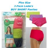 24 Units of FRUIT OF THE LOOM PLUS SIZE 3 PACK LADIES BOY SHORTS SIZE 10 - Womens Panties & Underwear