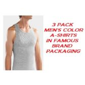 36 Units of FRUIT LOOM - HANES 3 PACK MEN'S COLOR A-SHIRTS / FAMOUS BRAND PK. - Mens T-Shirts