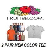 48 Units of FRUIT OF THE LOOM 2 PK MEN'S COLOR CREW T-SHIRTS - Mens T-Shirts