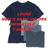 72 Units of LOOSE MEN'S BASIC COLORS CREW NECK STYLE TEE'S-SLIGHTLY IMPERFECT - Mens T-Shirts