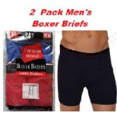 48 Units of FRUIT LOOM - HANES 2PK MEN BOXER BRIEFS IN FAMOUS BRAND PACKAGING - Mens Underwear