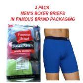 48 Units of FRUIT LOOM - HANES 3 PACK MEN'S BOXER BRIEFS / FAMOUS BRAND PK. - Mens Underwear