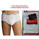 48 Units of FRUIT LOOM - HANES MEN'S 3 PACK WHITE BRIEFS IN FAMOUS BRAND PK - Mens Underwear