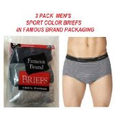 48 Units of FRUIT LOOM / HANES 3 PK MEN SPORT COLOR BRIEFS / FAMOUS BRAND PK.