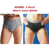 24 Units of HANES 3PK MEN COLOR BRIEFS ONLY SIZE LARGE (SLIGHTLY IMPERFECT