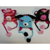 48 Units of WINTER ANIMAL FACE HATS W/ FLEECE LINING (ONE SIZE 7-14)