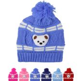 72 Units of Kids Winter Hat Assorted Color Teddy