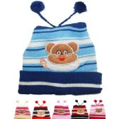 71 Units of KIDS WINTER HAT WITH BEAR - TOP POMS - Junior / Kids Winter Hats