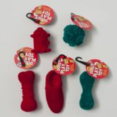 96 Units of Dog Toy Christmas 6 Assorted Flocked W/squeaker In Pdq Flocking Materia - Christmas Novelties