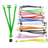 """48 Units of 3 IN 1 CABLE 8""""- INCLUDES UNIVERSAL (NON-APPLE) CABLE, I-4 CABLE AND I-5 / I-6 CABLE (10 COLORS) - Cables and Wires"""