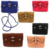 120 Units of DOUBLE POCKET CELL PHONE CROSS BODY BAG IN ASST SOLID COLORS - Shoulder Bag/ Side Bag