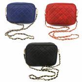 24 Units of DESIGNER INSPIRED QUILTED BAG IN ASST COLOR PACK OF NAVY, RED & BLACK - Shoulder Bags & Messenger Bags