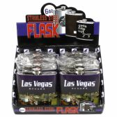 128 Units of LAS VEGAS THEMED FLASK IN A RETAIL COUNTER BOX DISPLAY