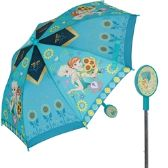 12 Units of Girls' Frozen umbrella with a molded handle featuring Anna and Elsa.