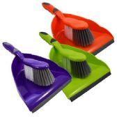 48 Units of Dust Pan w/ Brush Asst Colors - Dust Pans
