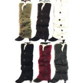 24 Units of Long Knitted Boottopper Leg Warmers Lace Trim - Womens Leg Warmers