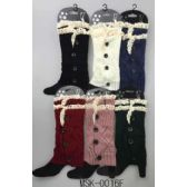 24 Units of Knitted Boot Topper Double Lace Top with buttons - Womens Leg Warmers