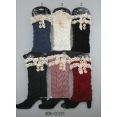 24 Units of Knitted Boot Topper Lace Top with buttons - Womens Leg Warmers