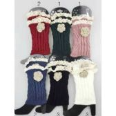 24 Units of Knitted Boot Topper Lace Top with Lace Flower - Womens Leg Warmers