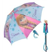 """12 Units of Girls' Frozen umbrella with a molded handle featuring Anna and Elsa with the words """"Forever Sisters"""". - Umbrellas & Rain Gear"""