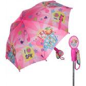 12 Units of Girls' bright pink Shopkins umbrella with a molded handle - Umbrellas & Rain Gear