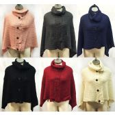 12 Units of Knitted Cowl Collar Ponchos with Buttons Assorted - Coats / Ponchos